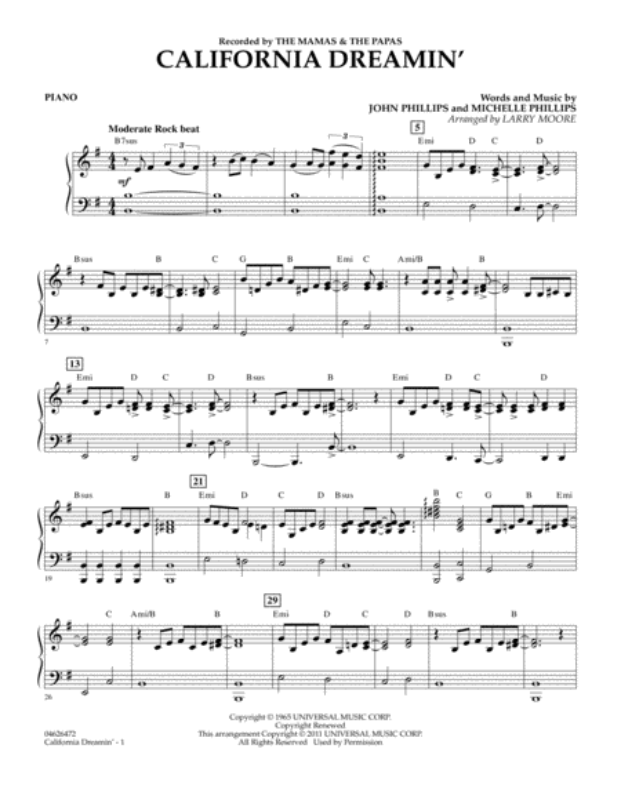 Fine California Dreaming Chords Composition - Guitar Ukulele Piano ...