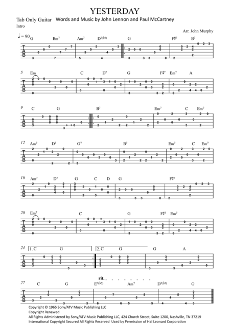 Yesterday guitar solo tab