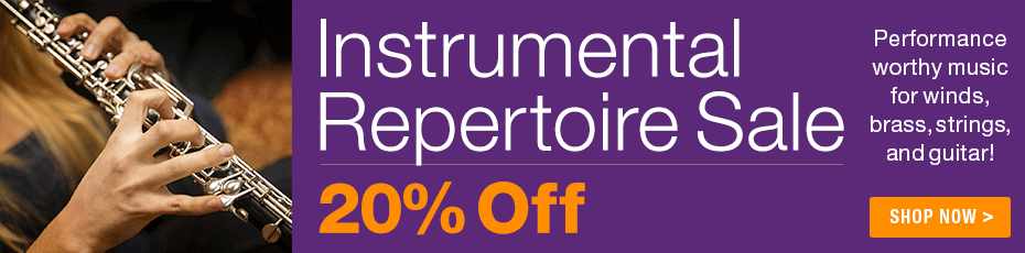 Instrumental Music Sale - 20% off select solo repertoire for string, woodwind, brass and guitar instruments!