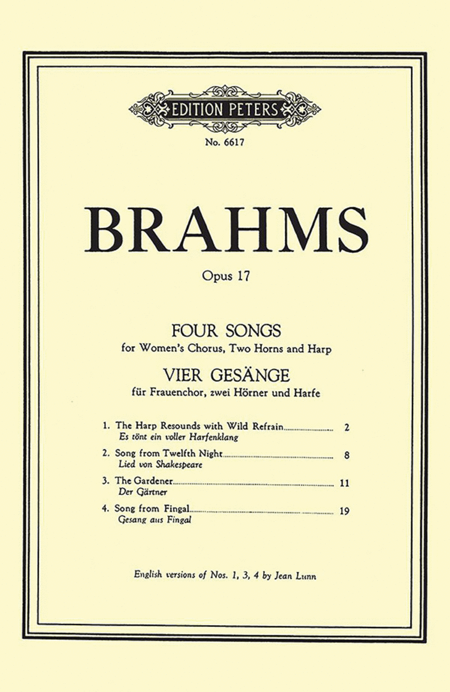4 Songs Op.17 for Womens' Chorus, 2 Horns, and Harp