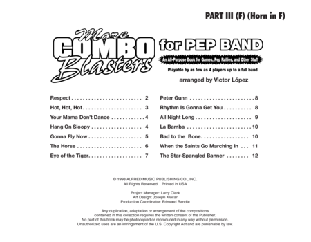 More Combo Blasters for Pep Band - Part III (F Horn)