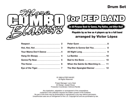 More Combo Blasters for Pep Band (Drum Set)