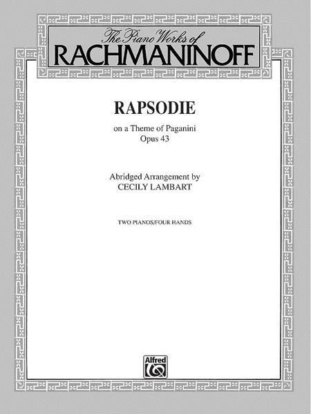 Rhapsody On A Theme Of Paganini, Op.43