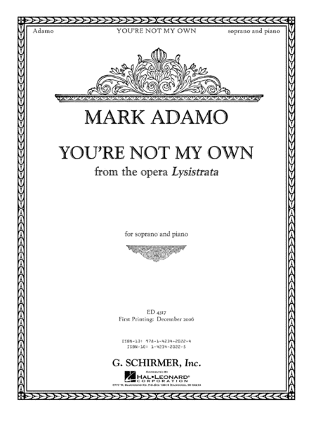 You're Not My Own from the opera Lysistrata