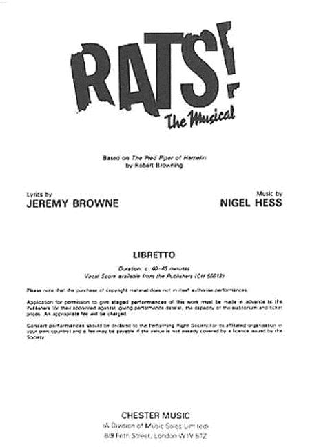 Rats! The Musical (Libretto) 1-9 Copies