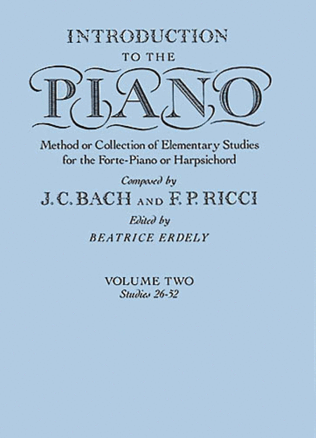 J.C. Bach And F.P. Ricci: Introduction To The Piano Volume Two