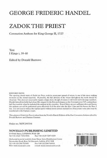 Coronation Anthem No.1 'Zadok The Priest'