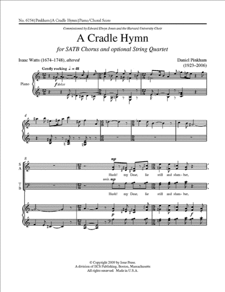 A Cradle Hymn (piano/choral score)