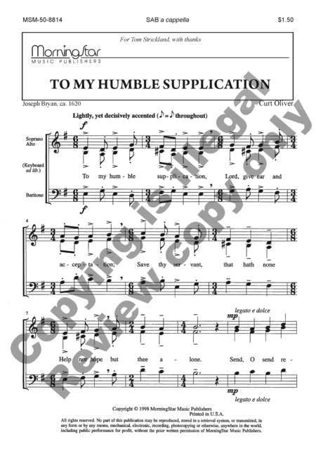 To My Humble Supplication
