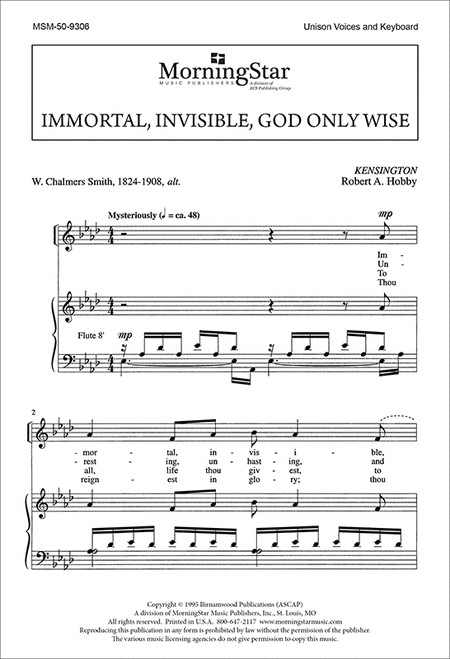Immortal, Invisible, God Only Wise (Choral Score)