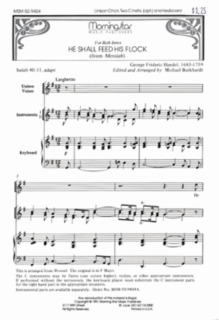 He Shall Feed His Flock (Choral Score)