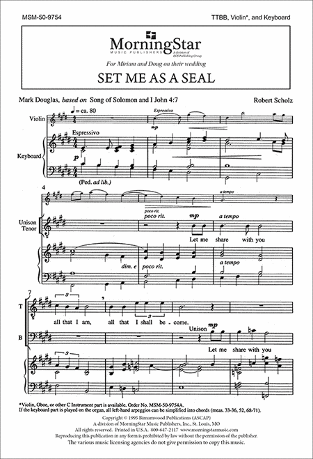 Set Me As a Seal (Choral Score)