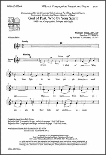God of Past, Who by Your Spirit (Choral Score)