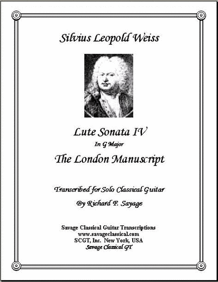 Lute Sonata IV in G Major from the London Manuscript for Solo Classical Guitar