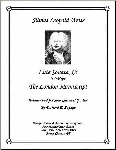Lute Sonata XX in D Major from the London Manuscript for Solo Classical Guitar