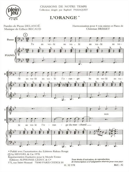 Chansons de Notre Temps: L'Orange - 4 Voix Mixtes et Piano