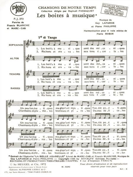 Chansons de Notre Temps: Les Boites a Musique - 4 Voix Mixtes