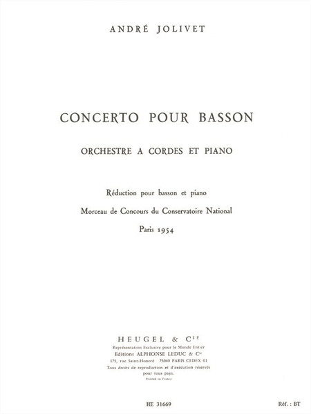 Concerto Basson et Orchestre a Cordes et Piano/Basson et Piano