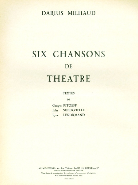 6 Chansons de Theatre - Voix Moyenne et Piano