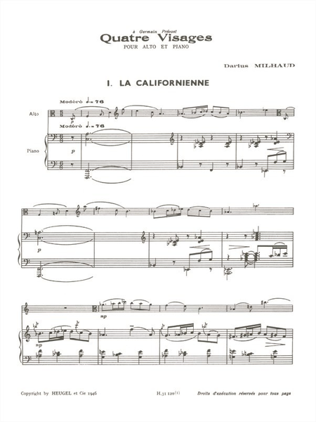 4 Visages: No.1 La Californienne - Alto et Piano
