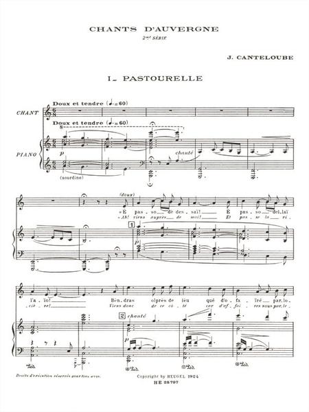 Chants D'Auvergne - 2eme Serie Voix Elevee Et Piano