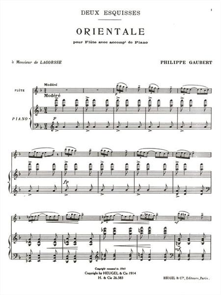 2 Esquisses: No.2 Orientale - Flute et Piano