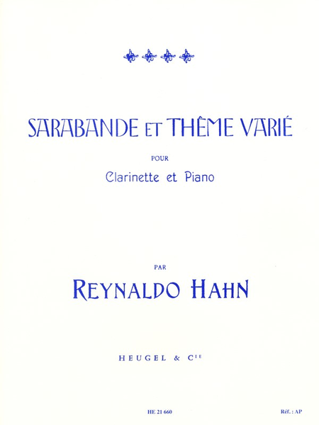 Sarabande Et Theme Varie - Clarinette Et Piano