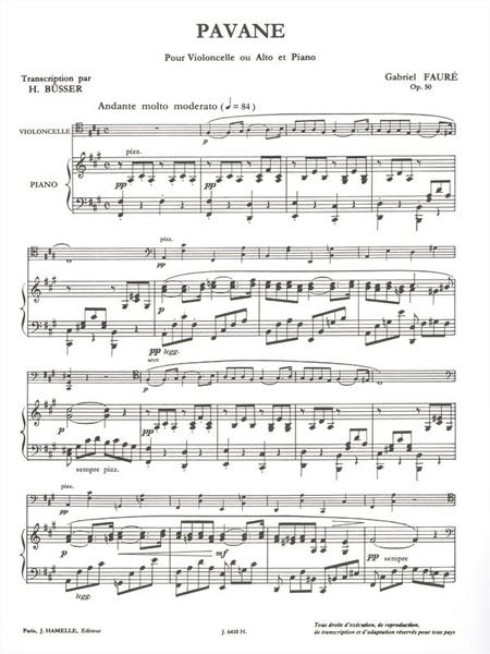 Pavane Op50 - Violoncelle ou Alto et Piano