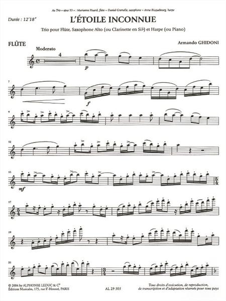 Etoile Inconnue - Fl/Cla Sib (Ou Saxo Mib) et Pno (Ou Harpe)