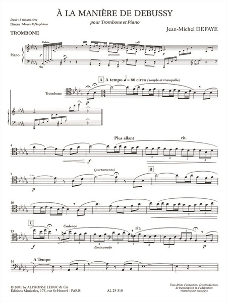 A La Maniere De Debussy - Trombone Et Piano
