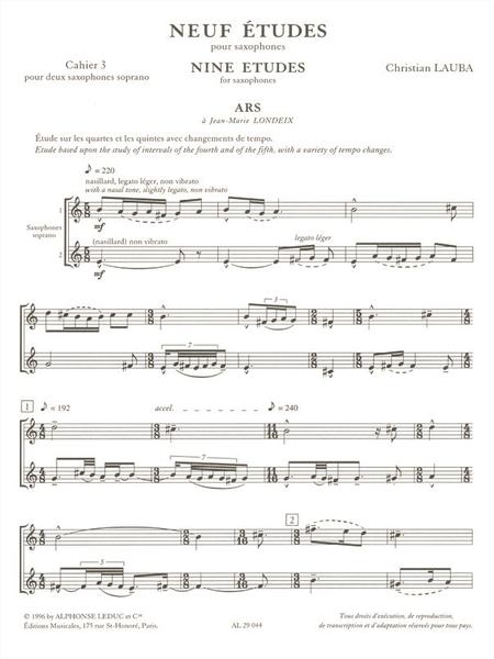 9 Etudes Volume 3 - Saxophone