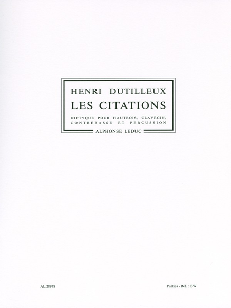 Citations - Hautbois/Clavecin/Contrebasse/Percussion