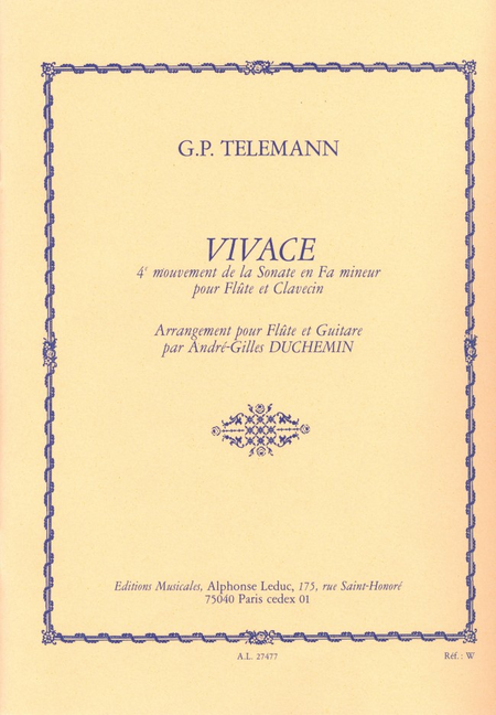 Vivace (4eme Mouvement de La Sonate en Fa Mineur)/Flute et Guitare
