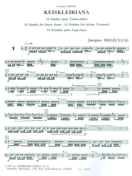 Keiskleiriana Volume 1 - 13 Etudes Pour Caisse-Claire