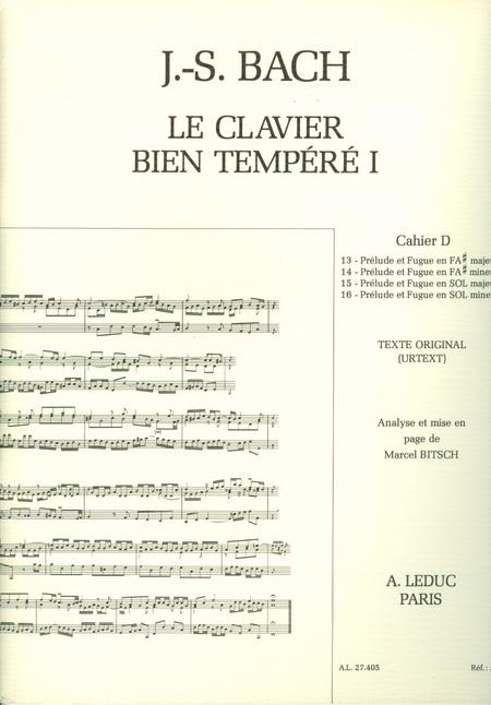 Clavier Bien Tempere/Livre1 - Volume D/Piano-Presentation Strophique