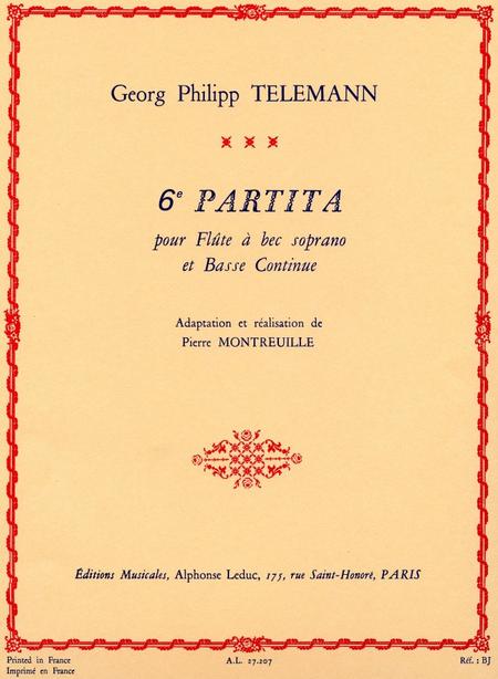 6Eme Partita - Flute A Bec Soprano Et Basse Continue