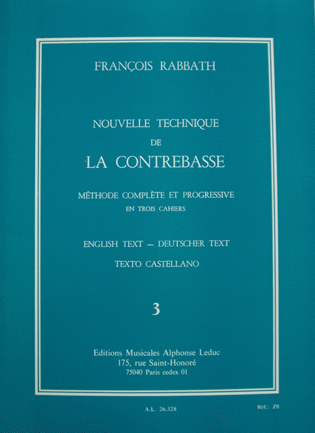 Nouvelle Technique de La Contrebasse Volume 3