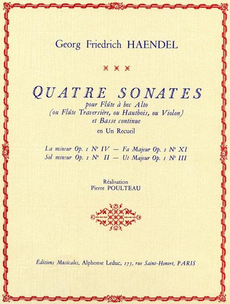 4 Sonates - Flute a Bec Alto (Ou Travers.Htb.Vlon) et Basse Cont