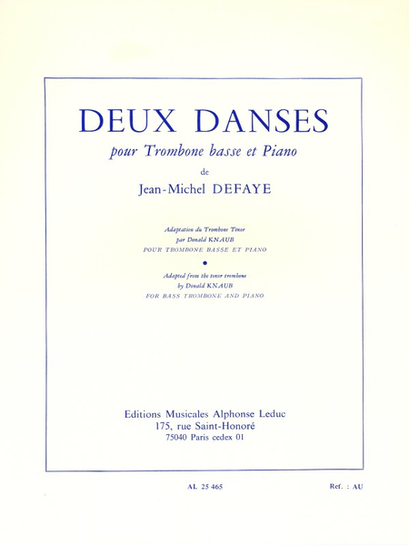 2 Danses - Trombone Basse Et Piano