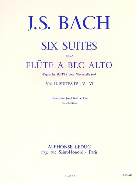 6 Suites (D'Apres Les Suites Pour Violoncelle) Volume 2:Suites 4-5-6 F.A B.Alto