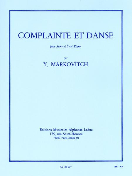 Complainte Et Danse - Saxophone Mib Et Piano