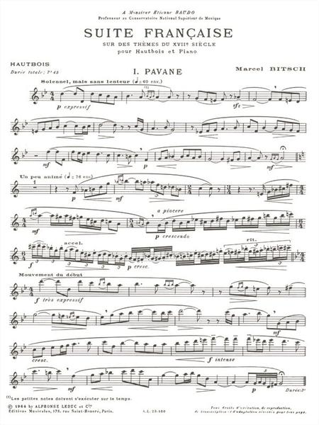 Suite Francaise Sur Des Themes Du 17eme Siecle Hautbois et Piano