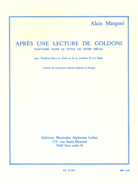 Apres Une Lecture de Goldoni - Tromb.Basse ou Tuba Ut ou Saxhorn Sib et Piano