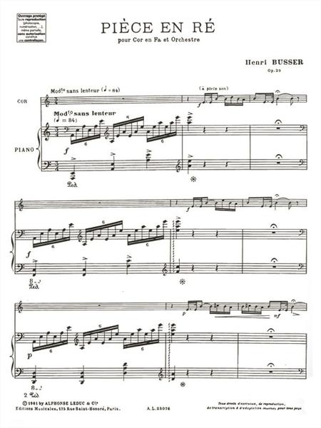 Piece en Re (Cor et Orch) - Cor en Fa et Piano