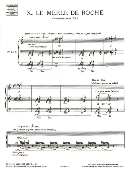 Catalogue D'Oiseaux Volume 6 - 10:Le Merle de Roche Piano
