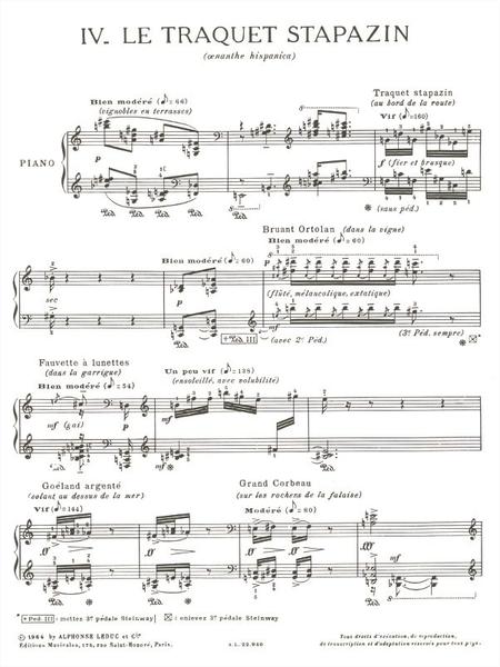 Catalogue D'Oiseaux Volume 2 - 4:Le Traquet Stapazin Piano