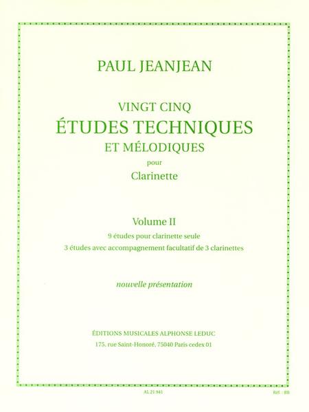 25 Etudes Techniques Et Melodiques/Volume 2/Clarinette
