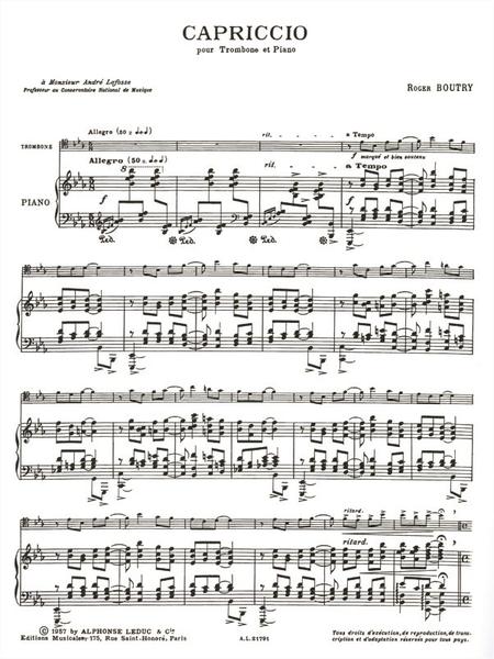 Capriccio - Trombone et Piano
