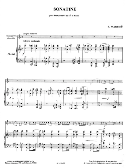 Sonatine - Trompette Ut ou Sib et Piano