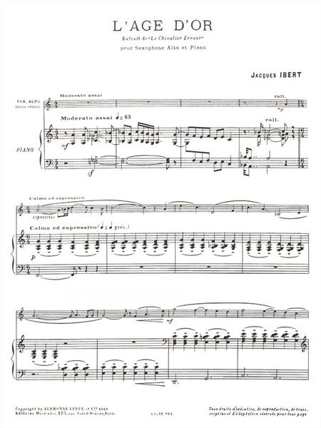 Age D'Or (Extrait Du Chevalier Errant) - Saxophone Mib et Piano